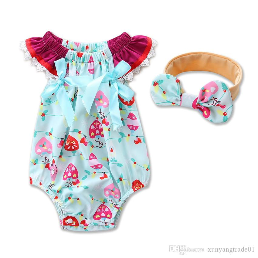 01d1c1d65d25 INS Summer Baby Clothes Sets Girls Floral Printed Baby Romper Jumpsuit  Bodysuits Bow Headbands Infant Newborn Cotton Kids Onesies 084 UK 2019 From  ...