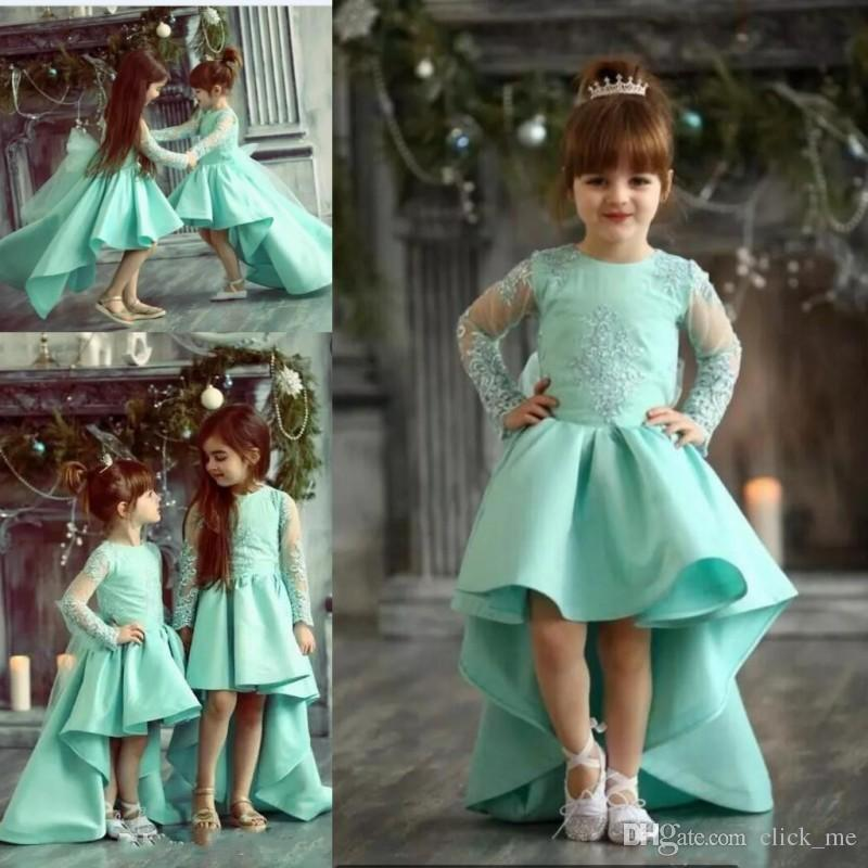 d9fa877c9 Mint High Low Flower Girl Dresses For Wedding Lace Appliques Sheer Long  Sleeves Girls Pageant Dress Satin Birthday Kids Party Gowns Lilac Flower  Girl ...