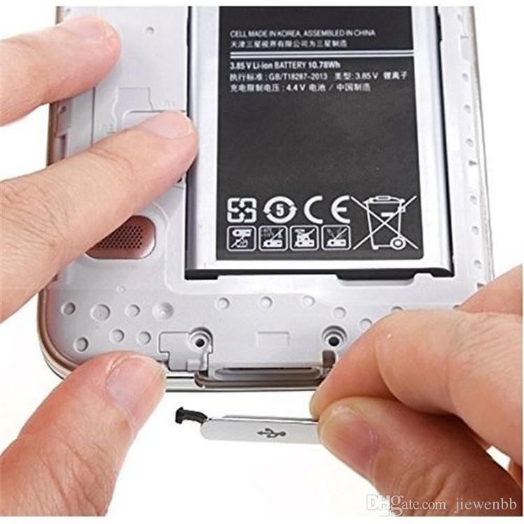 10 teile / los Silber Gold USB Ladeanschluss Staubstecker für Samsung Galaxy S5 G900F Ladeanschluss Abdeckung Wasserdicht Flap Cap