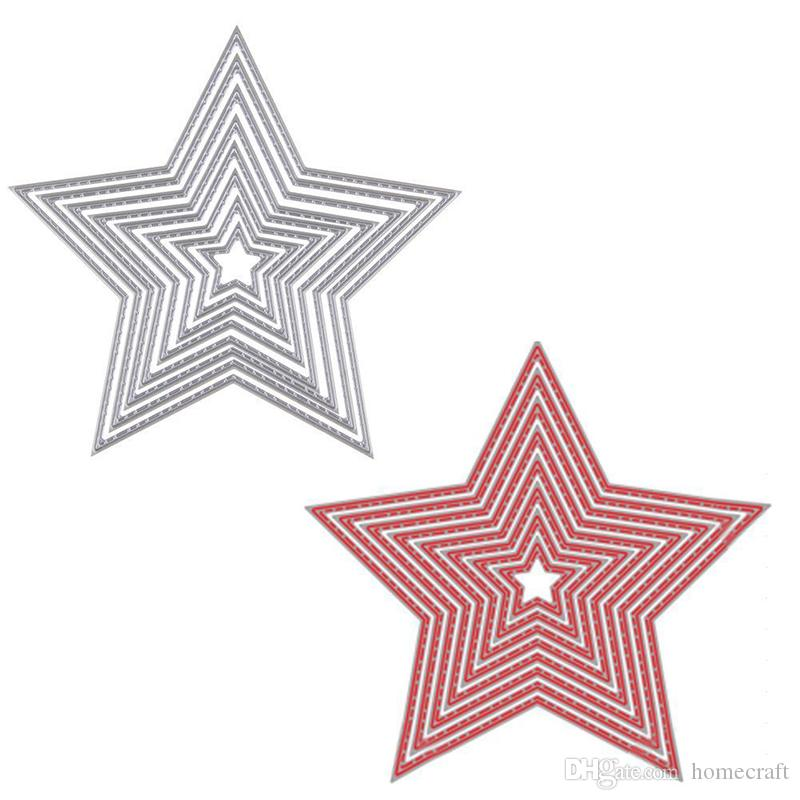 8 adet Temel Yıldız Karbon Çelik Metal Kesme Ölür Scrapbooking Dekoratif Kabartma Kağıt Kartları Şablon Için Şablonlar Şablon