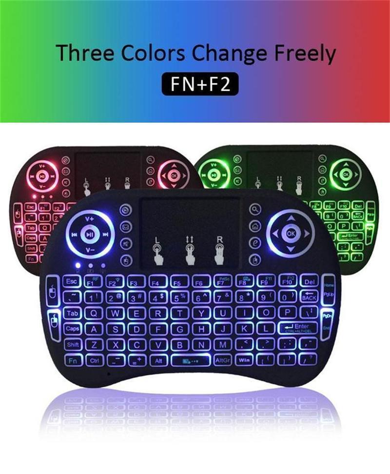 RII I8 Fly Air Mouse 2.4G Colorido retroiluminación retroiluminada Touchpad Touchpad Teclado multifunción para PC Pad Android TV Box MXQ V88 X96