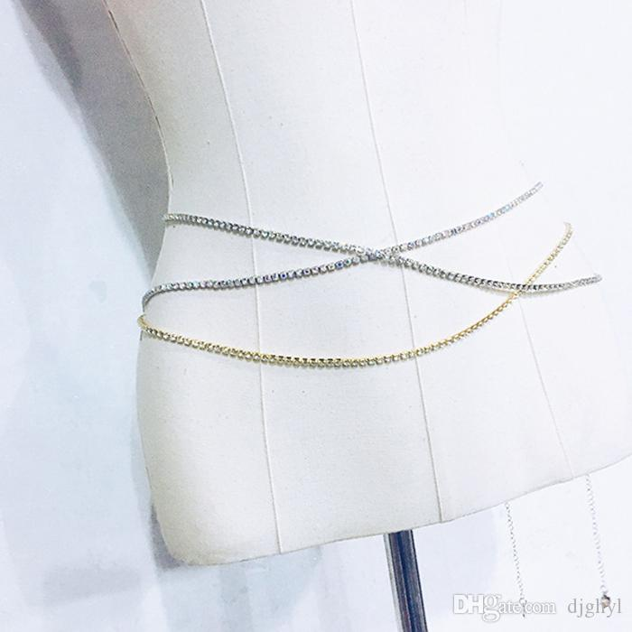 Color plata 2Rows atractivo de cristal de las mujeres de la cintura del vientre de la cadena de la joyería del cuerpo de la correa del cuerpo del Rhinestone que chispea la cadena del club del partido del bailarín