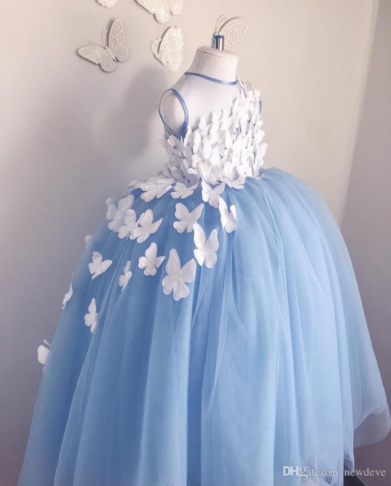 Abito da ballo viola di 7 anni Abiti da ragazza di fiore Tulle 3D Appliques floreali Abiti da spettacolo Farfalla Comunione Costumi in maschera Costumi