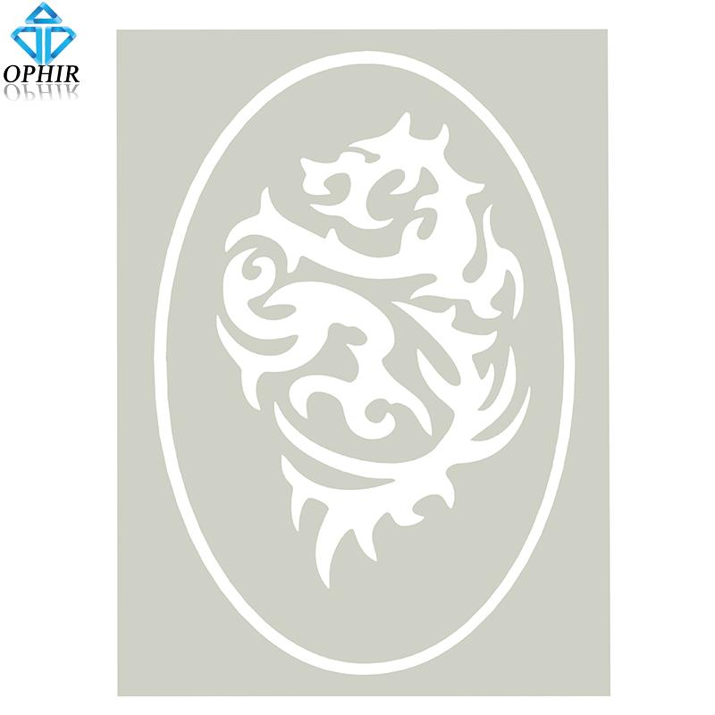Wholesale-OPHIR Dragon Design Airbrush Stencil for Temporary Tattoo Body  Paint_STE005B