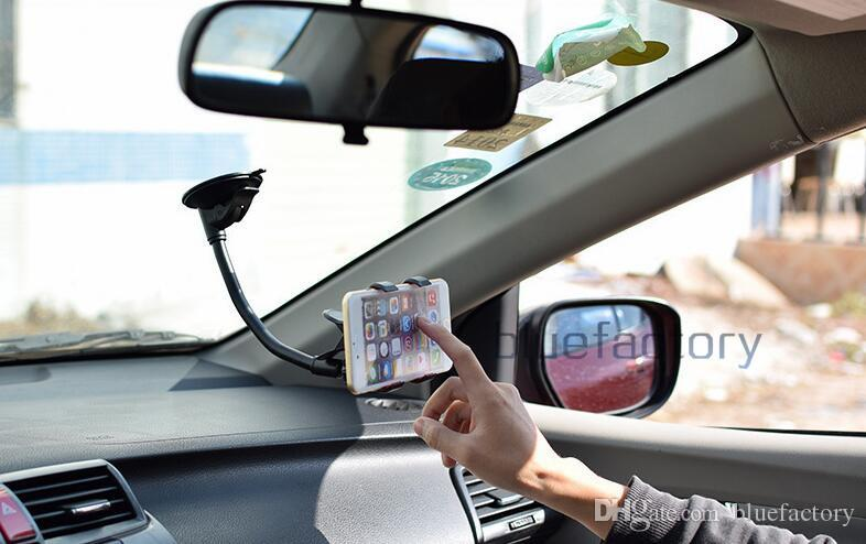 Universal Rotating Flexible Double Clip Car Windshield Mount Hoder Stand Suction Cup Swivei Holder Bracket for iphone Samsung LG cell phone