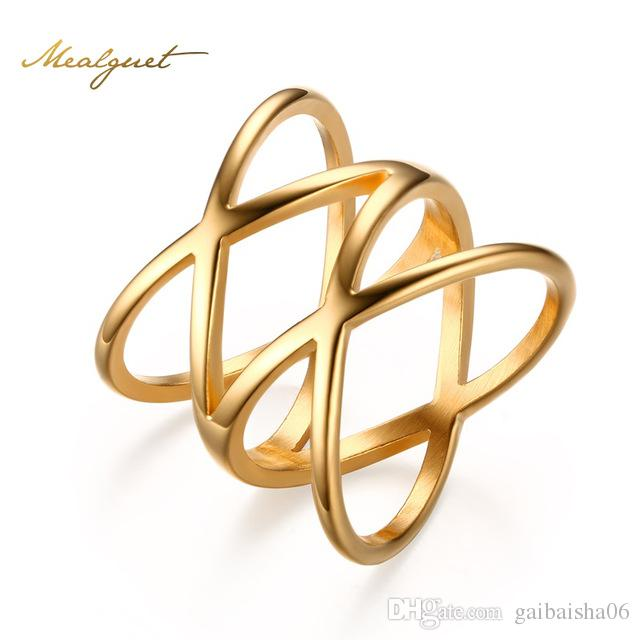 "Meaeguet Trendy Bijoux Women Stainless Steel Gold-Color Rings Jewelry for Double""X"" Cross Statement Ring Jewelry R-154"