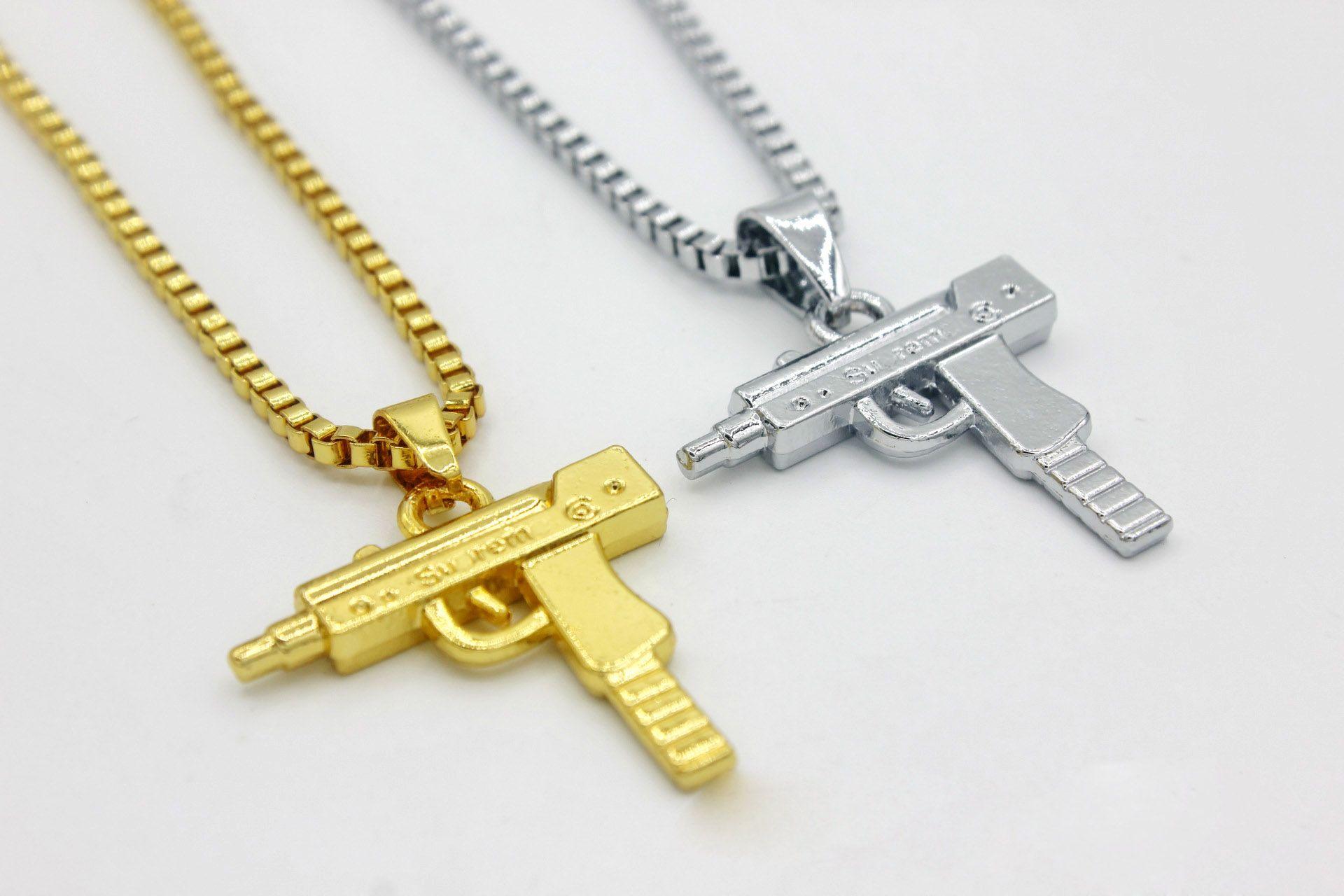 HOT Sale Hip Hop Necklaces Engraved Gun Shape Uzi Golden Pendant High Quality Necklace Gold Chain Popular Fashion Pendant Jewelry