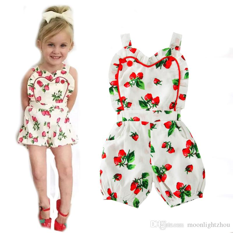 d16b444671de 2019 Baby Girls Rompers 2017 Summer Style Strawberry Suspender Toddler Girl  Jumpsuit For Baby Clothes Cute Fruit Girl Newborn Romper From  Moonlightzhou
