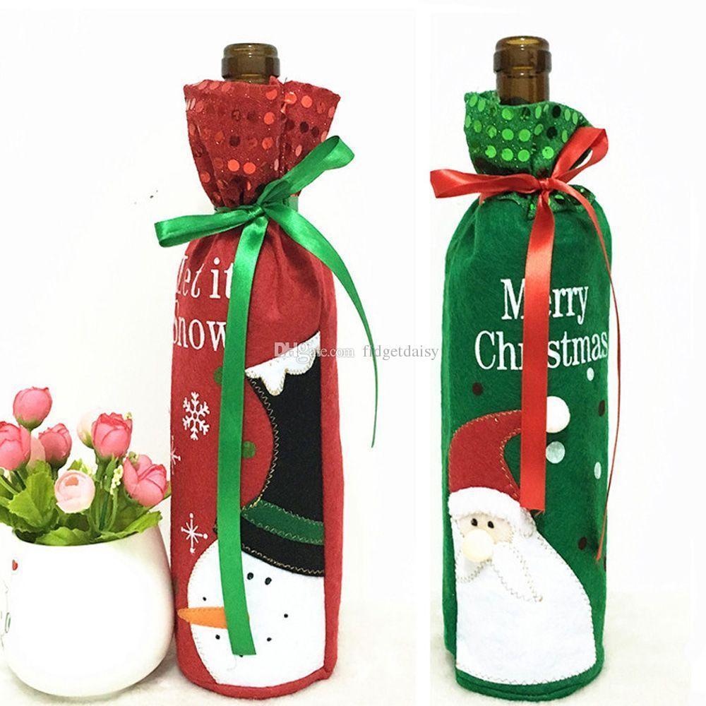 Красный бутылки вина сумки Новогодние украшения подарков партия лучший подарок для Xmas Bar Бутылка красного вина Обложка сумки