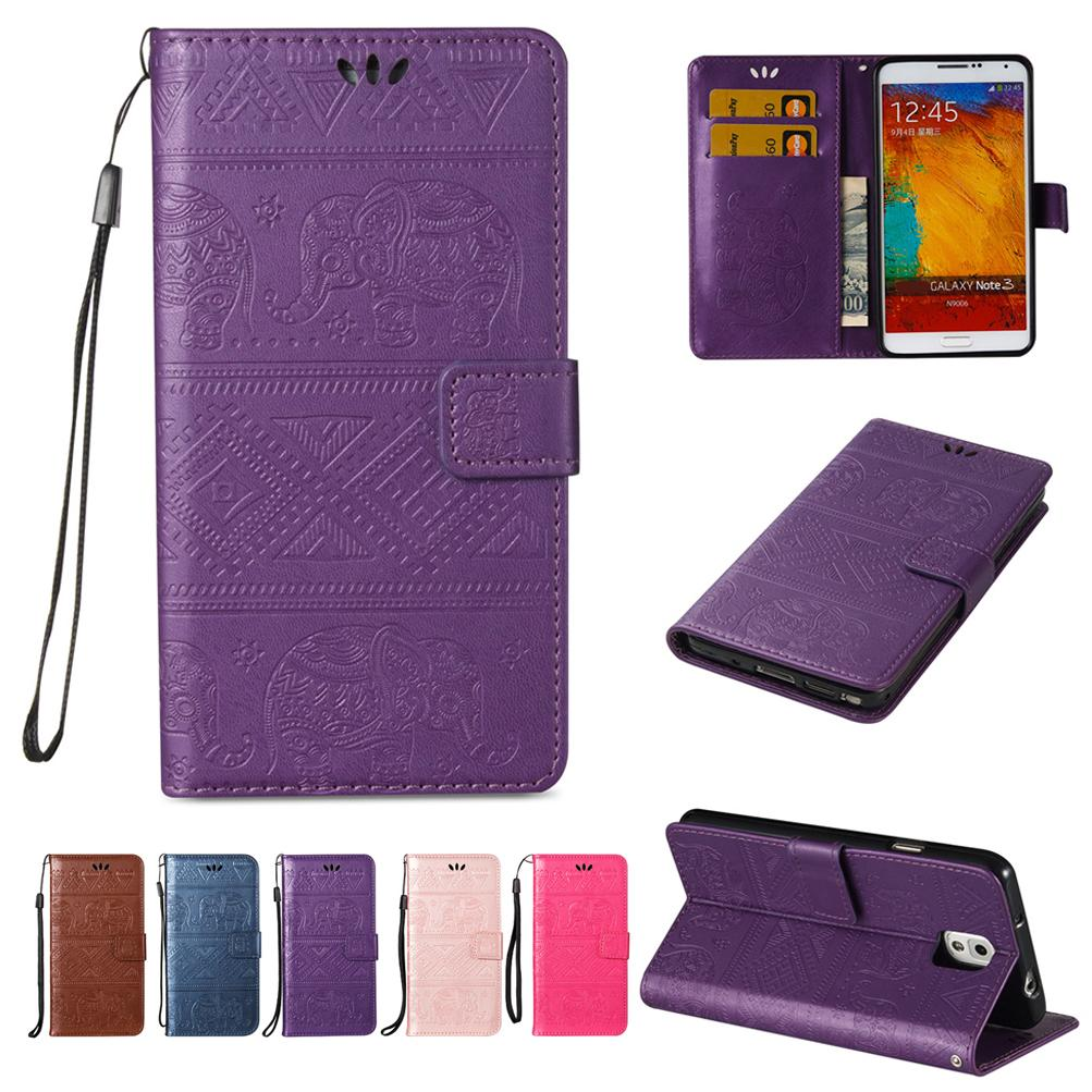 outlet store 6db71 a2d49 For Samsung Galaxy Note3 Note 3 Wallet Cases PU Leather Holder with Flip  Buckle Card Slot Convex Kitty National Calf Elephant