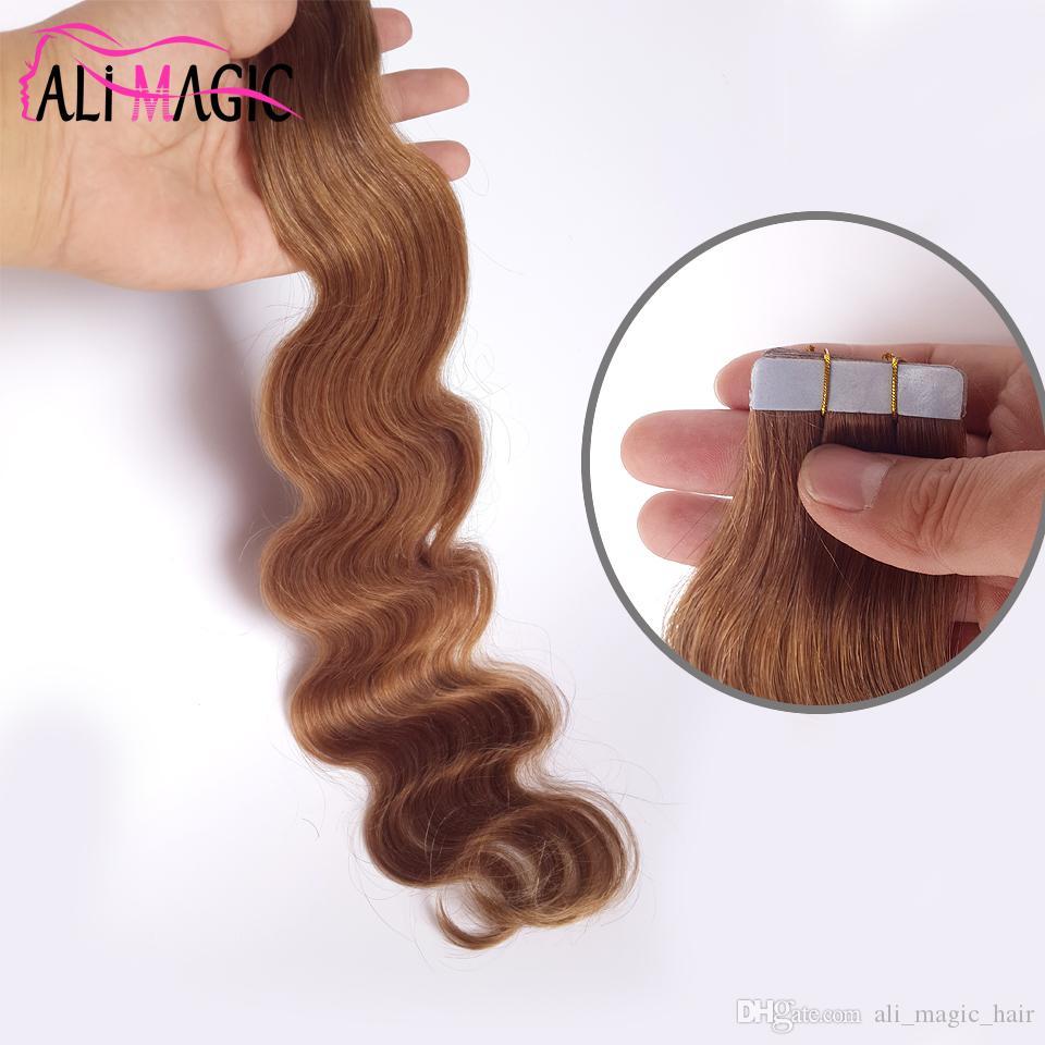 الشريط لحمة الجلد في الشعر الإنسان لخصم شعرك لطيف # 8 بني فاتح البرازيلي الجسم موجة جمال منتجات الشعر 10-26 بوصة
