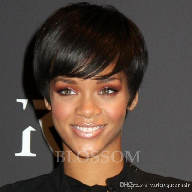 Cheap Short Pixie Cut Glueless Lace Front Human Hair Wigs With Bangs