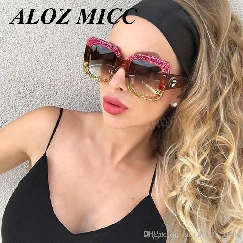 d4a5e164f5b ALOZ MICCDesigner Women Fashion Sunglasses Square Frame Female Oversized  Sun Glasses Vintage Green Red Eyewear New Oculos A333 Sunglass Cheap  Sunglasses ...