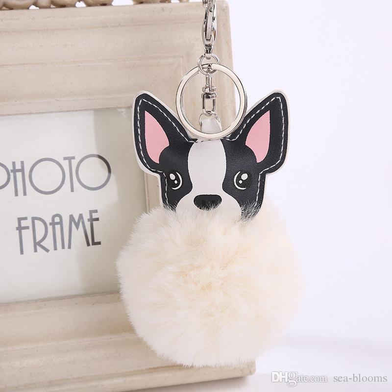 8CM Dog Fur Ball Key Chain PU Puppy Fur Ball Keychain Women Pompom Ball Keyring Car Pendant Bag Charm Jewelry 6 Styles D475Q