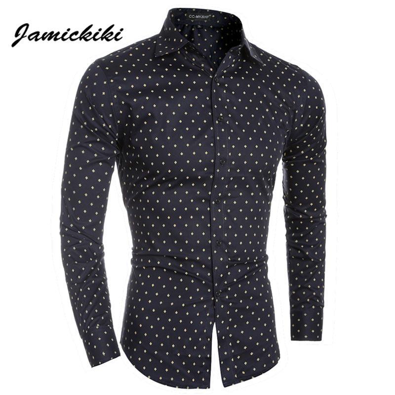 14e2b0b3d52 2019 Wholesale Asian Size Jamickiki Brand Mens Dress Shirts Fashion 2016  Spring Autumn Polka Dot Printing Slim Camisa Masculina High Quality From  Salom, ...