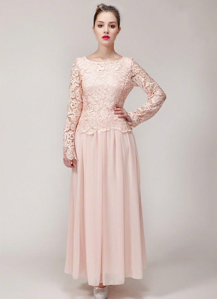 Nude Pink Lace Chiffon Mother Of The Bride Dresses Scoop Long Sleeves Ankle Length Mother Wedding Dresses Wedding Guest Dresses