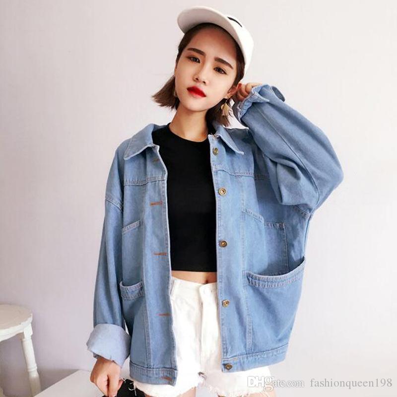 Großhandel Übergroße Jeansjacke Frauen Herbst Boyfriend Style Langarm  Umlegekragen Einreiher Taschen Blue Jeans Jacken Von Fashionqueen198,   15.08 Auf De. 3712651fd1