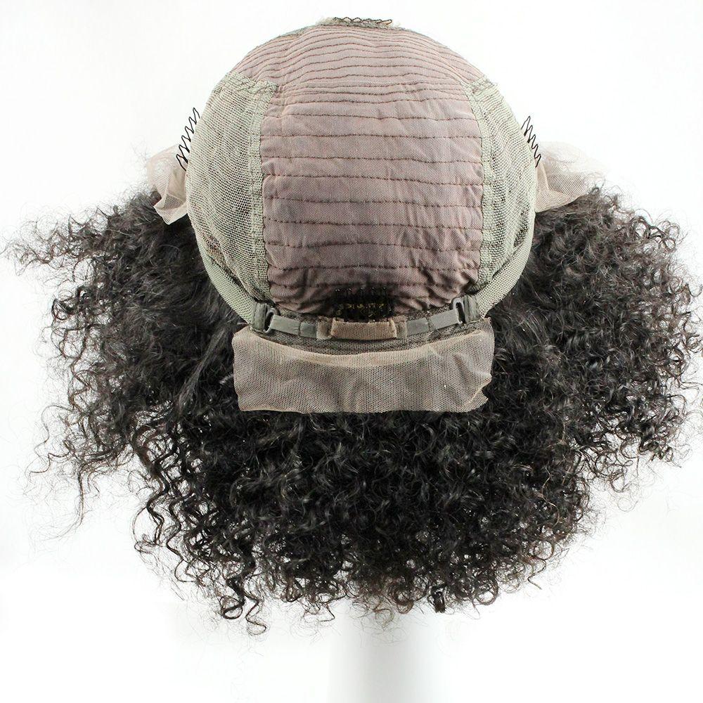 Tutkalsız Dantel Açık Bakire İnsan Saç Peruk Frontal Dantel Peruk Afro Kinky Kıvırcık Stil Ücretsiz Bölüm Orta Kısım 10-30 inç Afrikalı Amerikalı Peruk