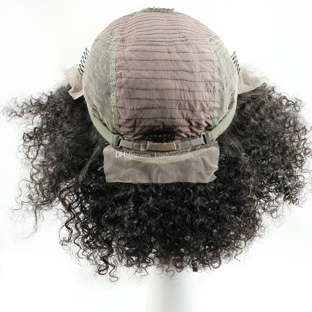 Tutkalsız Dantel Ön Virgin İnsan Saç Peruk Tam Dantel Peruk Afro Kinky Kıvırcık Stil Ücretsiz Bölüm Orta Kısmı 10-20 inç Afro-amerikan Peruk