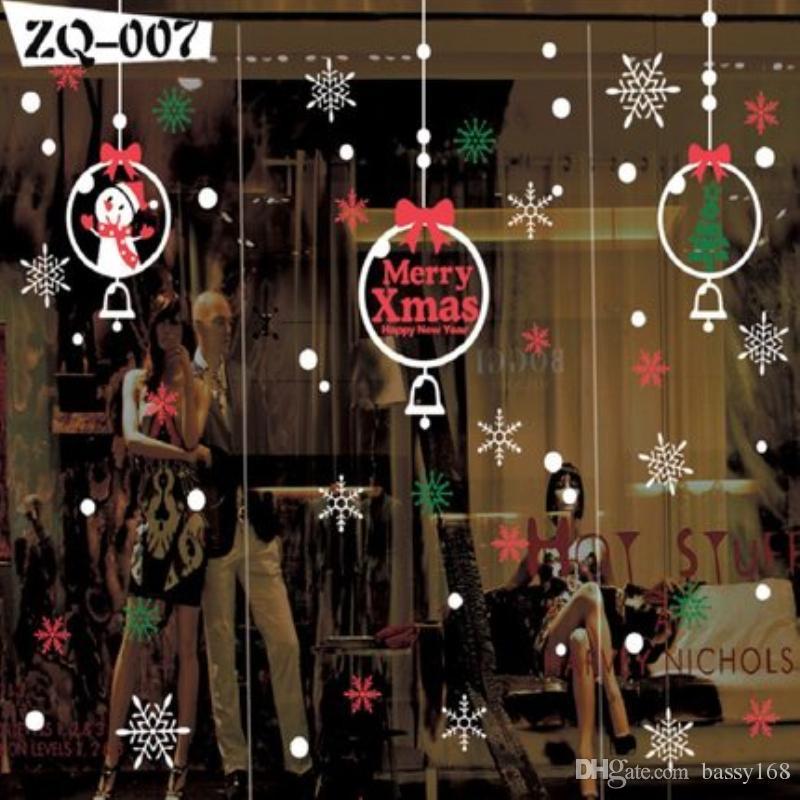 Feliz Navidad Etiqueta de la pared de Año Nuevo Eva Pegatinas estáticas Ventana de cristal decorativa Puerta Papá Noel muñeco de nieve
