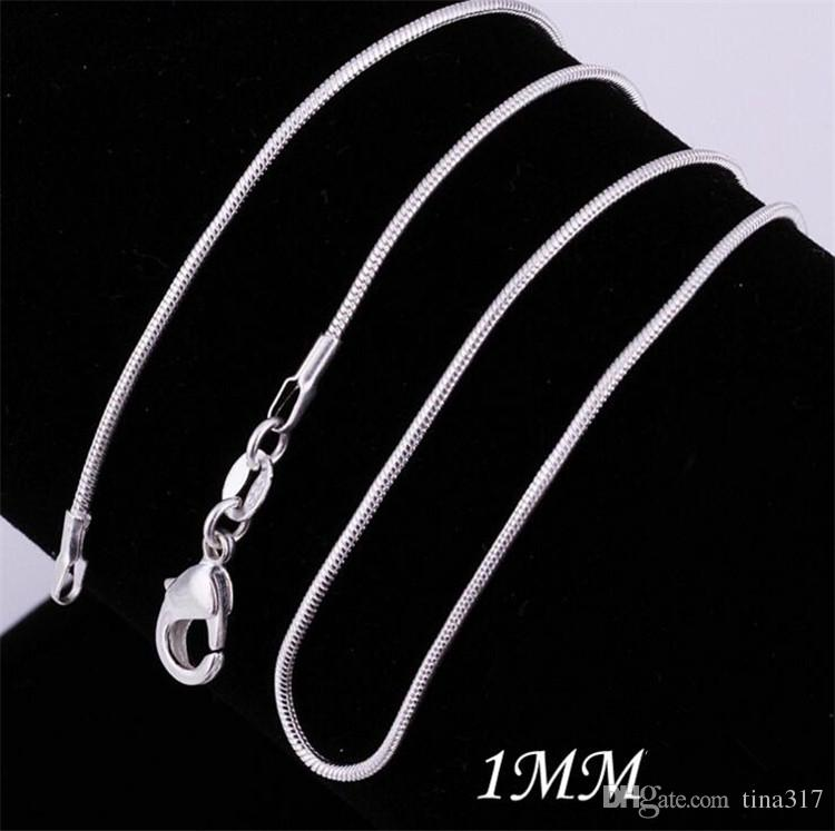 New 925 silvering Smooth Snake Chain Necklaces Lobster Clasps Chain Jewelry Size 1mm 16inch --- 24inch C092