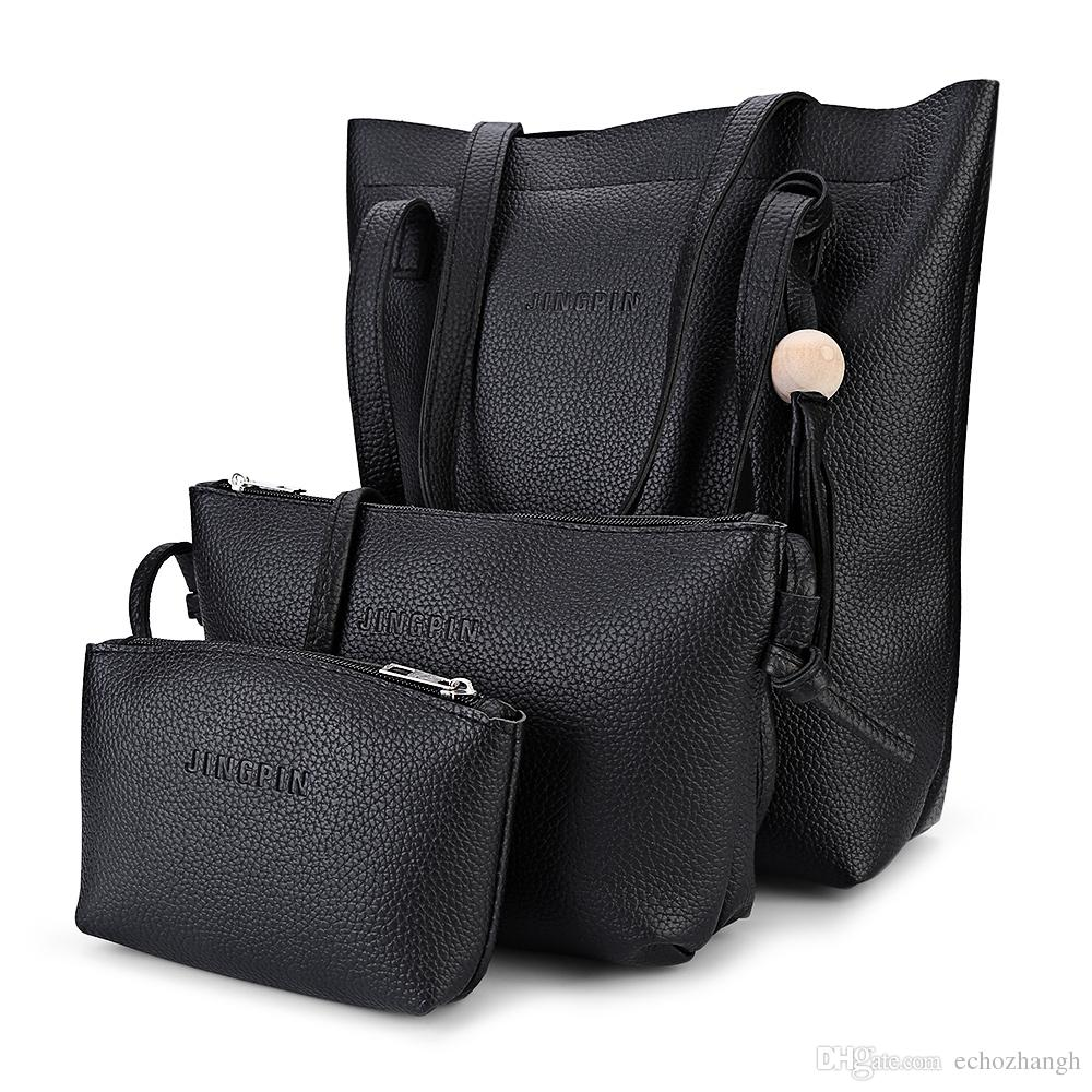 Causal Tote Bag Set Pu Leather Women Bag Simple Fashion Wood Ball Tassel  Composite Handbags Ladies Shoulder Bags Tote Bag +B Leather Bags For Women  ... 222d159cad