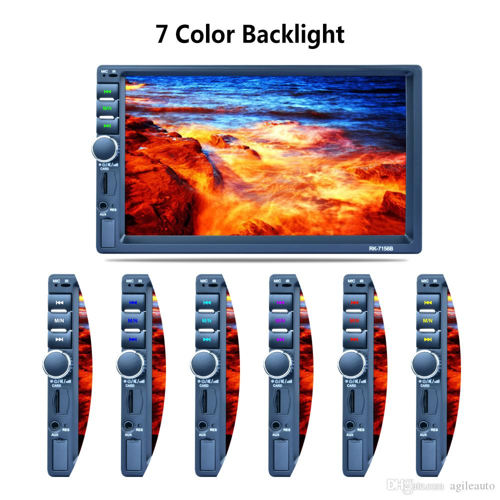 7 Inch 2 DIN In Dash HD Touch Screen Car Video Stereo Player Bluetooth AM FM RDS Radio Support Mirror Link Aux In Rear View Camera CMO_22E
