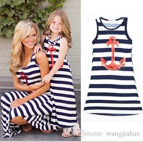 f5b246da0e9 Christmas Summer Vaction Parent Child Family Dress Blue And White Stripes  Boat Anchor Dress Mother And Daughter Outfit Vest Dress Shop Cocktail  Dresses Lace ...