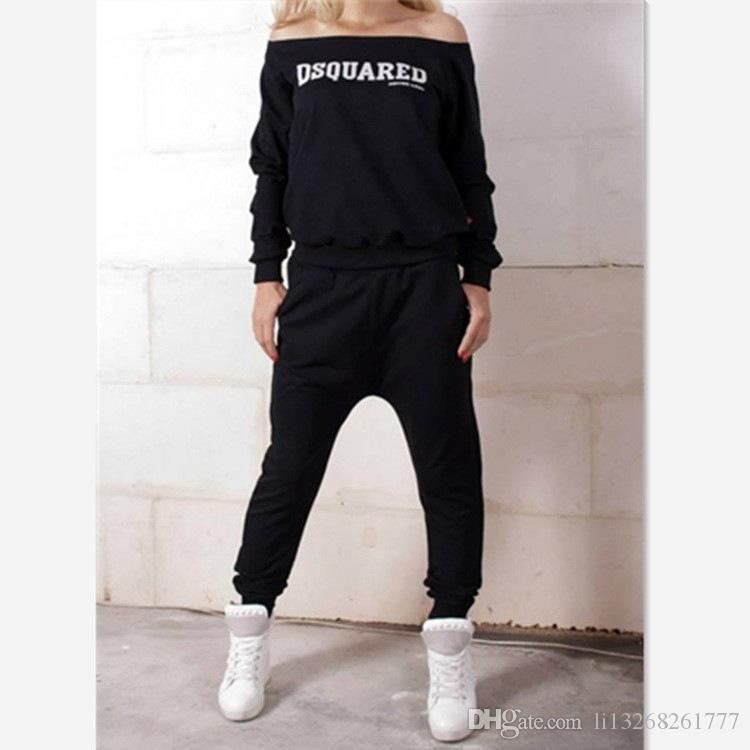 2017 herbst winter frauen sportbekleidung sets trainingsanzug casual langarm pullover black letter print 2 stück baumwolle slash neck