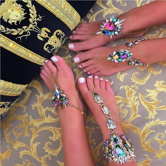 2017 Ankle Bracelet Wedding Barefoot Sandals BeaRetail Foot Jewelry Sexy Pie Leg Chain Female Boho Crystal Anklet New Fashion