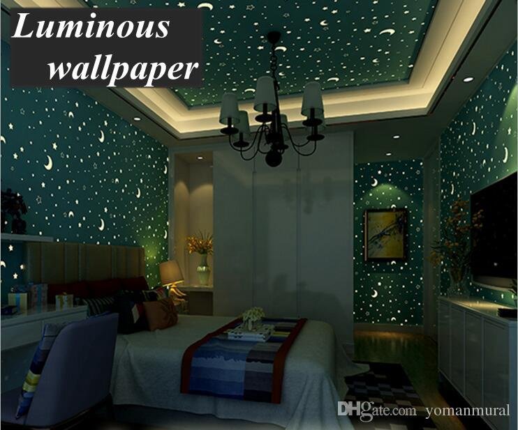 3d Luminous Wallpapers Roll Stars And The Moon Boys And Girls Childrenu0027S  Room Bedroom Ceiling Fluorescent Wallpaper Home Decor High Resolution  Desktop ...