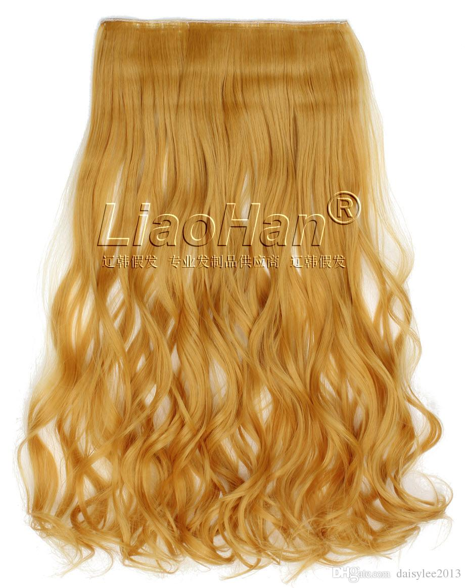 One Piece Medium Long Curly Colorful Clip In Orange Hair Extensions