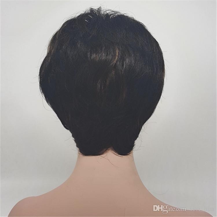Black Fashion Short Straight Wig With Bangs, Suitable For White And Black Women 9 Inch Natural High Temperature Silk Short Straight Wig
