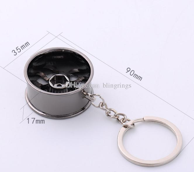 Hotsale Mini Car wheels Keychain Creative wheels Metal Key Pendant Small Gift Car keys bag pendant Key Ring Decoration Key Holder