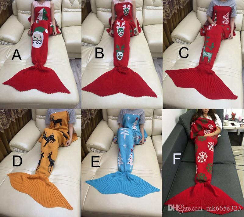 180*90cm Christmas Mermaid Tail Blankets Crochet Mermaid Tail Sleeping Bags Cocoon Sofa Blankets skull deer Knit Blanket