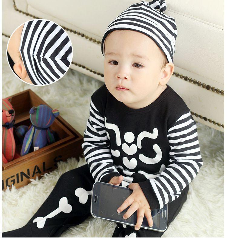 Bambino arrampicata vestiti tute, estate, autunno, inverno pigiama bambino scheletro banda ha il cappello 0 e 1 anno di età bambino 40 pezzi lotto