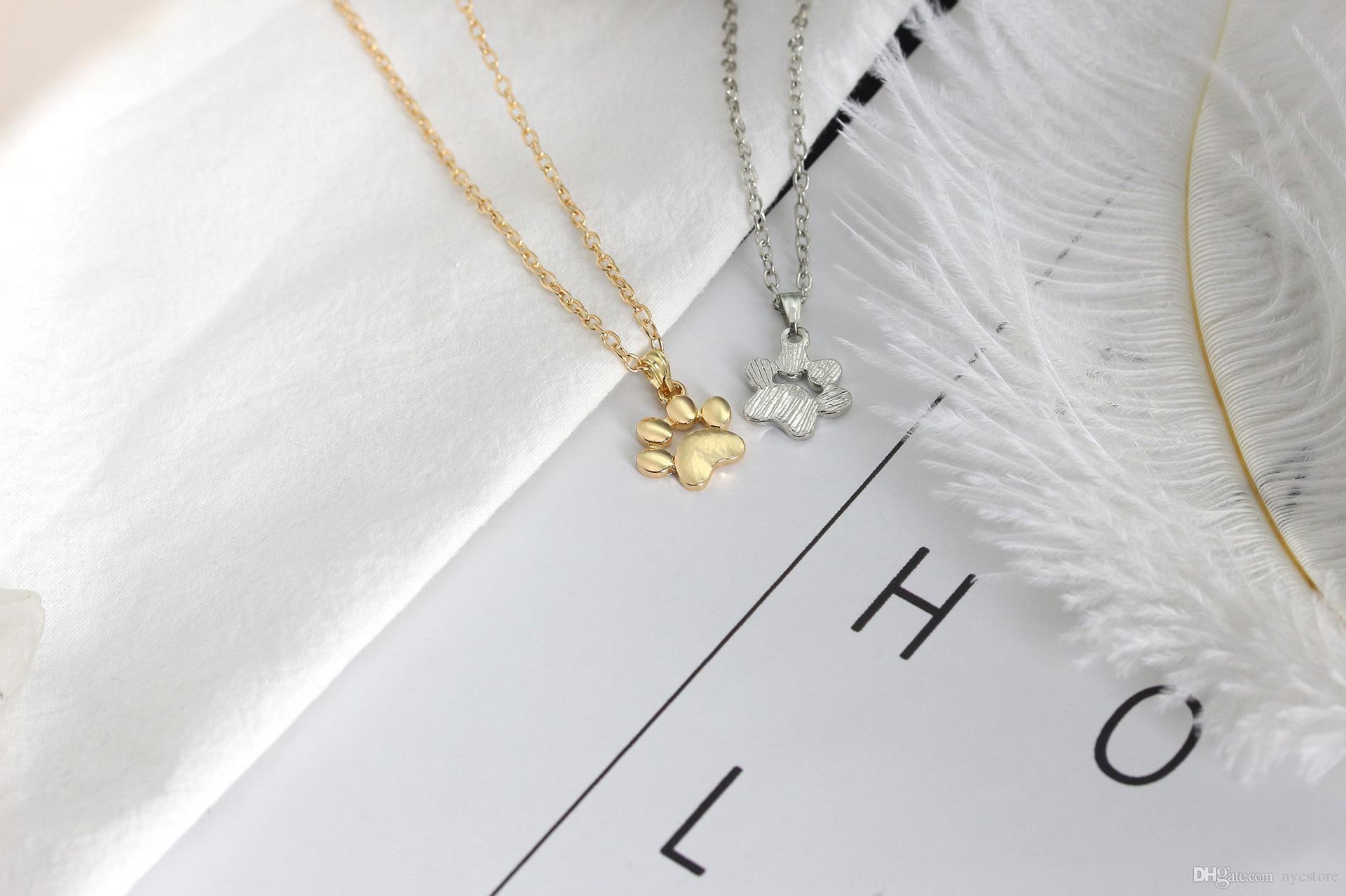 Metalllegierungs-nette Tierkatzentatzenfüße-Halskettengoldsilberhundegreiferpfoten formten hängende Halskettenfrauen-Art und Weiseschmucksachen des Mädchens