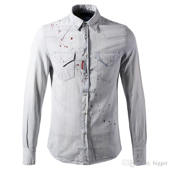 Plus Size 3 Xl Jeans Shirt Men Slim Fit Painted Denim Cotton Light