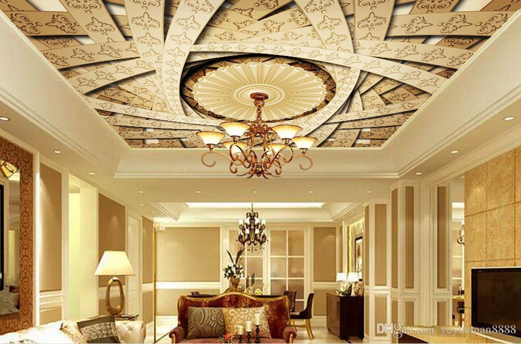 사용자 정의 3D 천장 벽지 유럽의 창조적 인 3d 천장 벽화 벽지 거실 침실 천장 벽지
