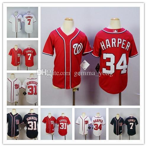 a457efa5875 ... bryce harper 34 cool base home white jersey  jersey 2017 2017 stitched youth  washington nationals 7 trea turner boys 31 max scherzer child 34