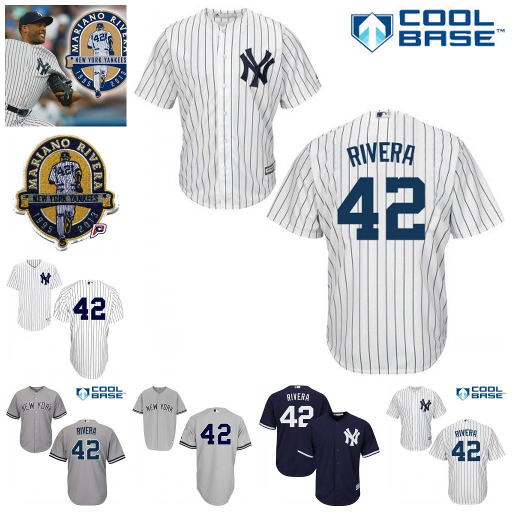 ffbf61032 2017 New York Yankees 42 Mariano Rivera Jersey With Retired Patch MLB Baseball  Jerseys Stitched Size ...