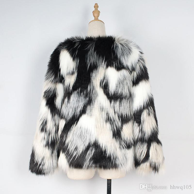 Contrast Color Faux Fur Coat For Women Fashion Slim-Fit V-Neck Long Sleeve Winter Jacket Ladies Street Style Party Club Overcoat CJG1003