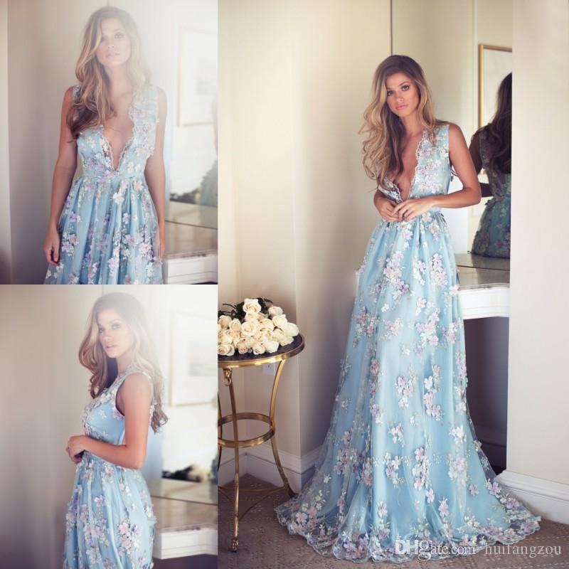New Arrival A Line Prom Dresses Plunging Neckline 3D