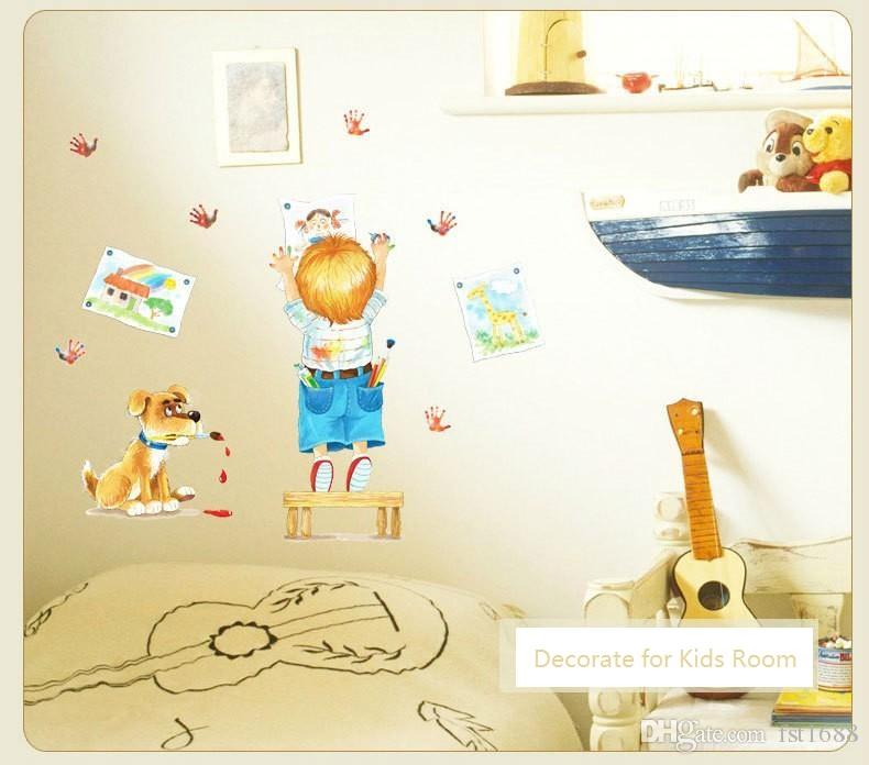 SK7007 Cartoon Boy Painting Wall Stickers Cute Dog Decals For Kids Rooms Home Decor Removable Creative Wall Decor