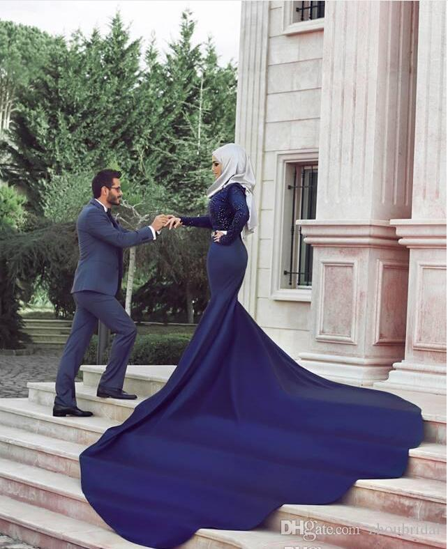 Royal Blue Mermaid Evening Dresses Jewel Neck Long Sleeve With Zip Back Lace Applique Satin Satin Court Train Formal Prom Gowns Custom Made