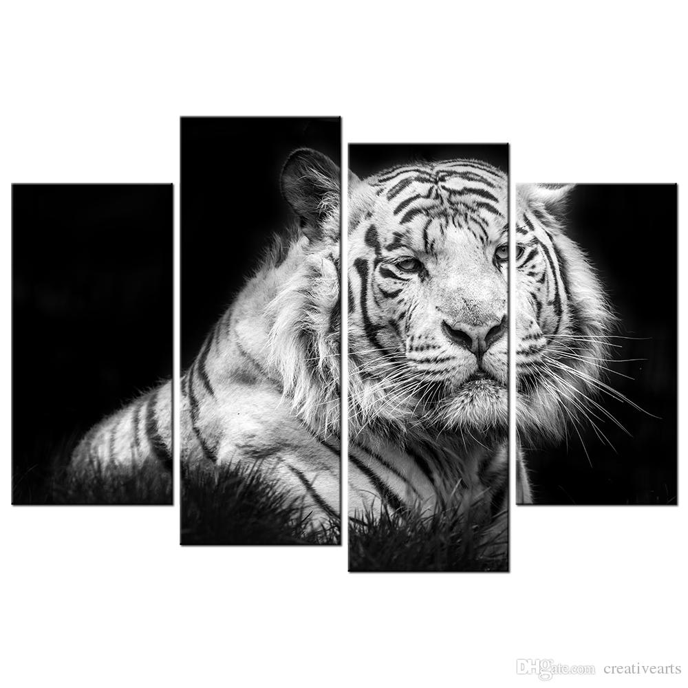2018 king of the jungle white tiger hd picture canvas prints wild