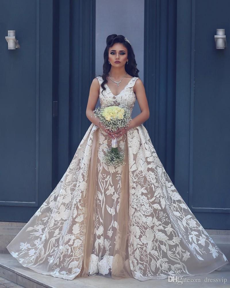 Deep V Neck Lace Applique Mermaid Wedding Dresses Detachable Train Cheap Vintage Plus Size Bridal Dress Reem Acra Latest Boho Wedding Gown