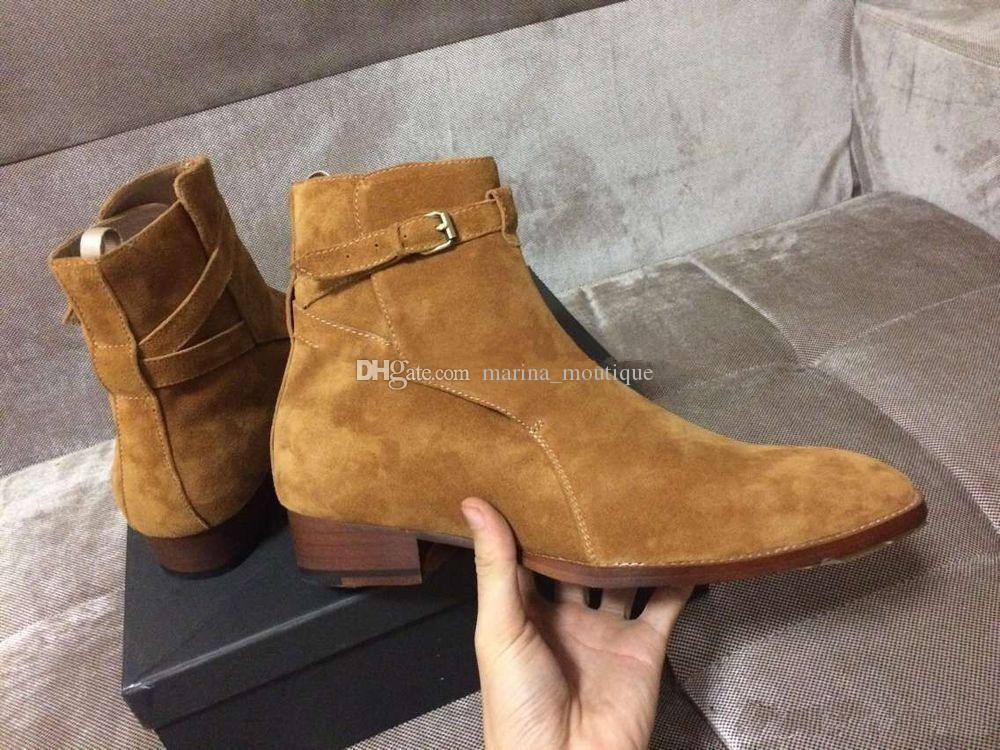 2019 Brand Slip Wyatt ChBoot Men's Martin Booties Suede leather Ankle Buckle Mens Oxfords Kanye Shoes Factory Real Pics top Quality