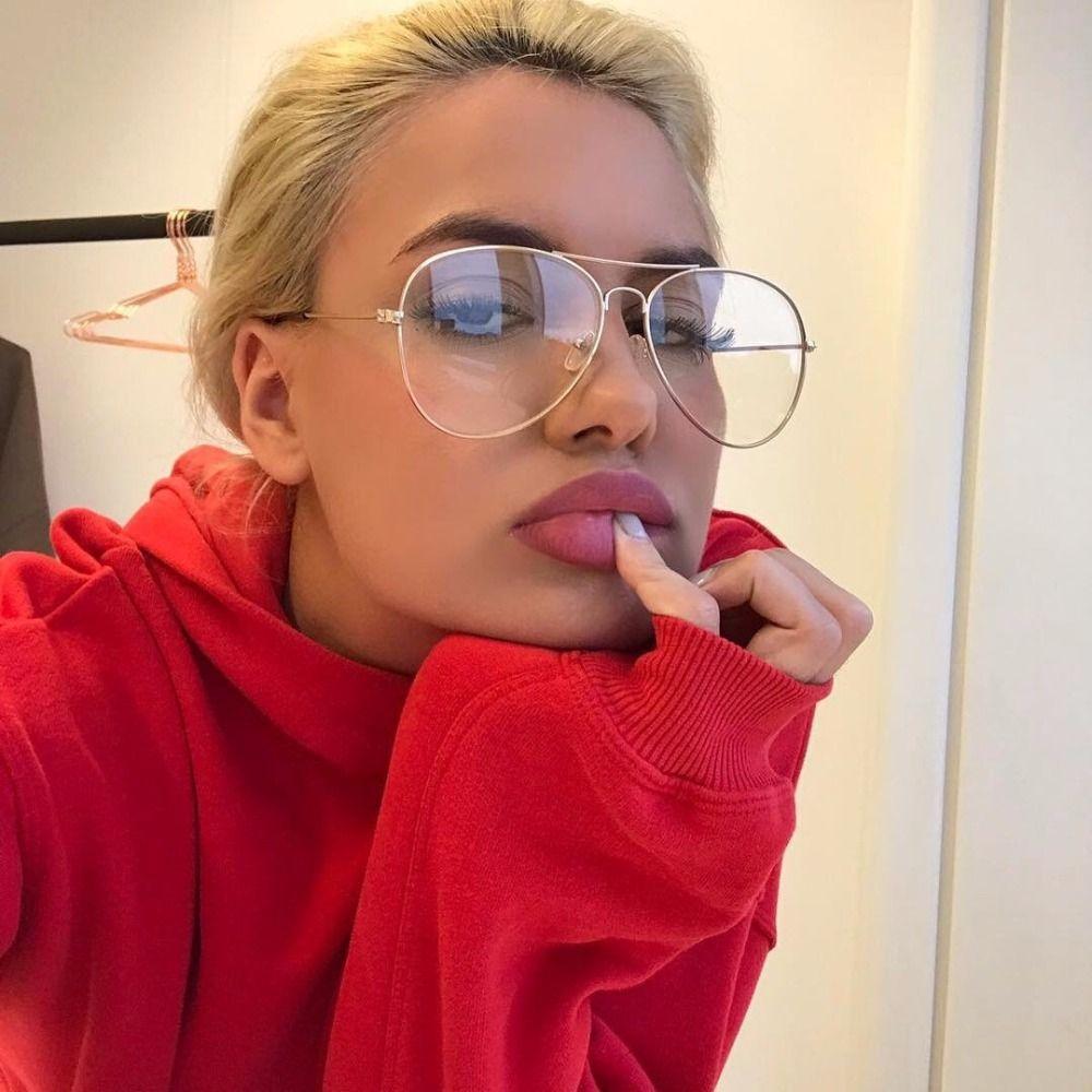 Gold Aviator Clear Glasses Women Optical Frame Eye Glasses