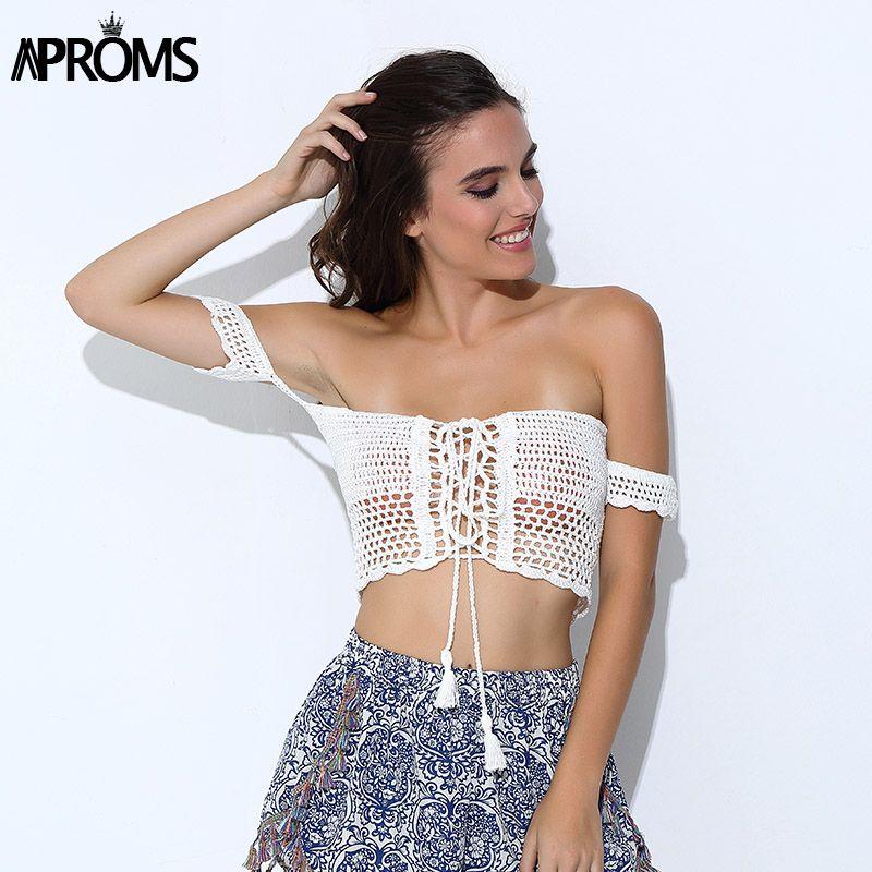 8a11d78bb5 2019 Aproms Sexy Knitted Crochet White Crop Tops Bikini Beachwear 90 S  Girls Casual Lace Up Off Shoulder Bikini Bra Tank Top Cropped From  Fincek007